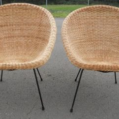 White Wicker Dining Chairs Uk Bar Stool Walmart Pair 1960 S Bucket Shaped - Sold